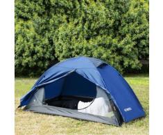 Enkeeo Tente De Dôme 2 Personnes Camping Bleu Coupe-Vent Imperméable Sunproof