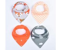 4pcs / Lot Baby Bibs Bébé Enfants Bavoir Repas Serviette Salive Triangle En Coton Bandana Bibs