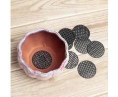 10pcs jardinage pot de fleur trou maille tapis tapis plante rempotage fond de bonsaï tapis de grille (4.5cm)