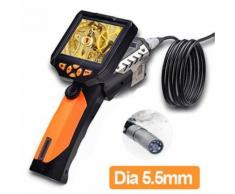 Boblov diamètre seulement 5,5 mm caméra Inspection industrielle Endoscope endoscope sonde 1M longueur avec 3,5 pouces amovible LCD moniteur de vidéo 720p HD vidéoscope industriel lampe de poche étanche 4XZoo (Eodoscope+ 1M Sonde avec caméra)