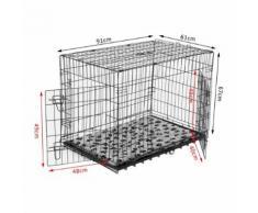 Cage Caisse De Transport Pliante Pour Chien Poignée, Plateau Amovible, Coussin Fourni 91 X 61 X 67 Cm Noir 33