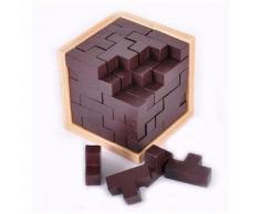 Jouet Jeux Casse Tête Mini Cube Puzzle Style Tetris Bois Pour Enfants Et Adultes