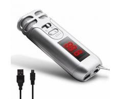 Seesii Mini FM sans fil Portable poche condensateur Microphone Mic avec courroie de cou pour Guide touristique, vendeur, enseignant, hôte, conférencier, Conférence et karaoké (Argent)