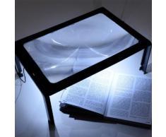 Loupe de lecture avec support pied pliable / lanière Magnifier 3 fois 27x20cm avec LED lampe