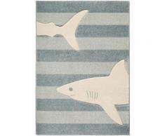 Tapis Enfant Justin Shark Bleu 120x170 Cm - Tapis Pour Chambre D'enfants/Bébé