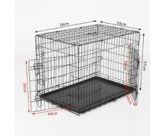 Cage De Transport Pliante Pour Chien Poignée Et Plateau Amovible 76 X 53 X 57 Cm Noire 21