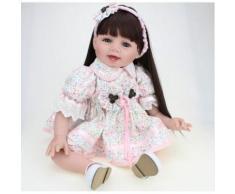 Silicone Reborn Bébé Poupée Filles, Jouets 22 Pouces, Mignon Fille Poupée Pour Cadeau, Réaliste Reborn Enfants Jouet Poupée