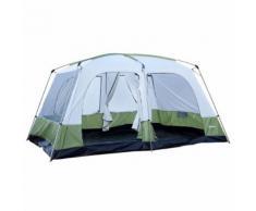 Tente De Camping Familiale 4-8 Personnes 4 Fenêtres 2 Portes 2 Cabines Xxl 4,1l X 3,1l X 2,25h M Vert Blanc 50