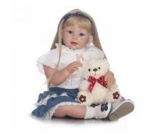 70 Cm Handmade Imitation Âge Cheveux Longs Denim Jupe Petit Bébé Fille Avec Un Jouet Ours Silicone Bébé Reborn Doll