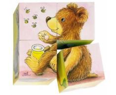 Puzzles De 4 Cubes Bébés Animaux Jeu Jouet En Bois Enfant 2 Ans +.