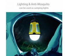 Dewel Lanterne Exterieur Lampe Anti-Moustiques 2 En 1 Sans Fils Pièges À Moustiques 3w Avec Éclairage 4w Lampe Lanterne Camping Imperméable Ip44 Accroché Pour Camping Extérieur