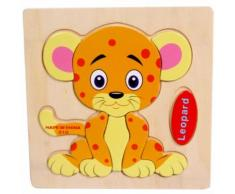 Leopard Puzzle En Bois Éducatif Développement Bébé Enfants Formation Jouet