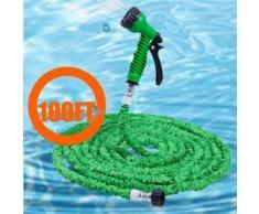 Tuyau d'eau Tuyau de jardin 100FT extensible avec 7 modèles de pistolet à pulvérisation - Vert