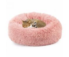 Lit De Chat Hiver Moelleux Panier Chien Canapé-Lit Coussin Chaud Doux Chenil Peluche Nest Rose 50cm