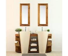 Salle de bain en teck Keops double vasque + miroir
