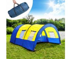Tente De Camping Familiale 4 À 6 Places, Tente Tunnel - 480 Cm X 350 Cm X 195 Cm - Bleu Jaune Tectake