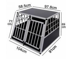 Cage De Transport Pour Chien En Aluminium Avec Cloison Démontable Xxl Noir 104x91x69cm