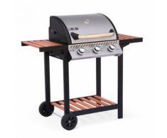 Barbecue au gaz - Ernest Inox - 3 brûleurs, tablettes en bois, grilles en fonte, thermomètre, roues