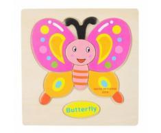 Jouet Puzzle 3d Jouet Jeux De Puzzle En Bois Multicolore Casse-Tete Educatif Cadeau Pour Enfant - Papillon