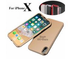 Ebuy® Pour Iphone X 360° Protection Complet Coque Etui Verre Trempé Film Doré (Abc-Store)
