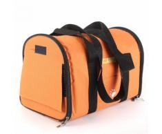 Sac De Transport Valise Caisse Panier Pliable Bandoulière Pour Chien Chat Voyage Orange