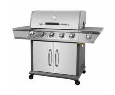 COOKINGBOX Barbecue a gaz Kimberley 5 +1 feux- Fonte et inox