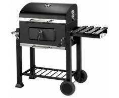 TECTAKE Barbecue Charbon de Bois à 2 Roues 2 Grilles et 1 Thermomètre en Métal Noir