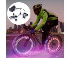 2x 14 Led Induction Roue De Bicyclette À Rayons Signal Tire Éclairage Étanche Éclairage Vélo 485