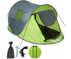 Tente De Camping 2 Places Pop Up, Tente Imperméable - 220 Cm X 130 Cm X 95 Cm - Vert Gris Tectake
