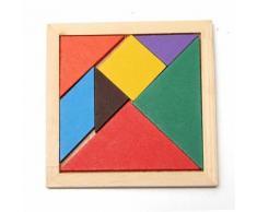 Jouet - Jeux Casse Tête Puzzle Tangram - 7 Pièces En Bois Multicolore Pour Enfants