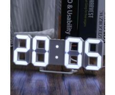 LED blanche numérique 3D Numéros Horloge murale avec 3 niveaux de luminosité Alarme Snooze horloge