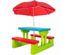 2 Bancs+ 1 Table Pour Enfant, Table D'activité, Table De Pique-Nique + Parasol - En Plastique - Tectake