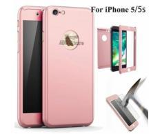 Ebuy® Pour Iphone 5/5s/Se 360° Protection Complet Coque Etui Verre Trempé Film Rose Doré (Abc-Store)