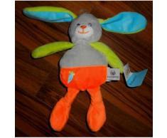 Doudou Lapin Hyper U Systeme U Tout Petits Peluche Lapinou Orange Fluo Gris Vert Anis Jouet Bebe Enfant