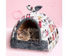 [S] Tente Panier, Lit, Coussin, Canape, Niche Pour Chien Chaud Pliable Lavable Resistant Hiver Pour Chien Chat Animaux - Beige 02