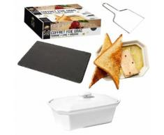 Coffret Foie gras : Terrine céramique, plat ardoise, lyre en inox