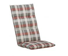Kettler 0309907-8769 Coussin pour chaise empilable Rouge/gris à carreaux 110 x 48 x 8 cm