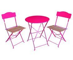 Ensemble 3 pièces pour terrasse : 1 table ronde + 2 chaises - Style bistrot - Coloris ROSE Framboise