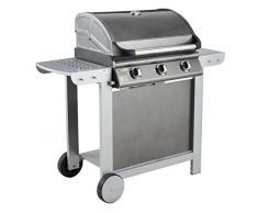 Cookin garden AM007T Barbecue Gaz Mixte à Capot Fiesta 3, Argent, 81,5x51,5x29 cm