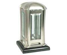 Paul Jansen Lanterne Funéraire carrés en Acier en tôle dacier avec Facette Disques sur Socle en Granite Hauteur 24 cm