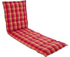 Kettler 0309504-8732 Coussin pour chaise longue Carreaux rouge/jaune/gris 195 x 60 x 8 cm