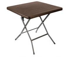 Vanage - Table dappoint - Table de Jardin carrée avec Effets bois - Structure en acier - Pliable et ultra compacte - Parfait pour Jardin, Terrasse et Balcon