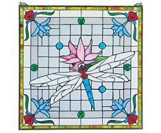 Design Toscano Panneau en Verre teinté - Libellule étang Vitrail Tentures - Rideaux