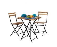 Relaxdays Meubles de Jardin 2 chaises et 1 Table Pliable HxlxP: 76 x 60 x 60 cm terrasse Balcon Bois Nature