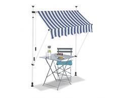 Relaxdays Auvent rétractable 150 cm Store Balcon Marquise Soleil terrasse Hauteur réglable sans perçage, Bleu-Blanc