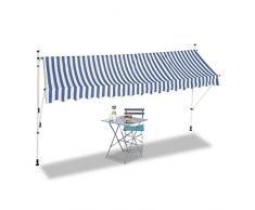Relaxdays Auvent rétractable 400 cm Store Balcon Marquise Soleil terrasse Hauteur réglable sans perçage, Bleu-Blanc