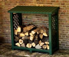 KHW 40903 Étagère à bois de cheminée Vert