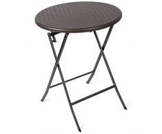 Vanage - Table dappoint - Table de Jardin ronde en Rotin synthétique - Structure en acier - Pliable et ultra compacte - Parfait pour Jardin, Terrasse et Balcon