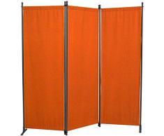 Angerer Paravent 3 pièces Tissu PE, Terre Cuite, 165 x 2 x 165 cm, 630/006/11
