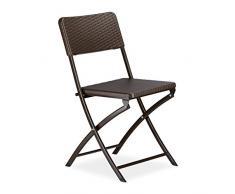 Relaxdays Chaise de jardin pliable pliante Chaise de camping BASTIAN en aspect rotin H x l x P: 82 x 44 x 50 cm, marron